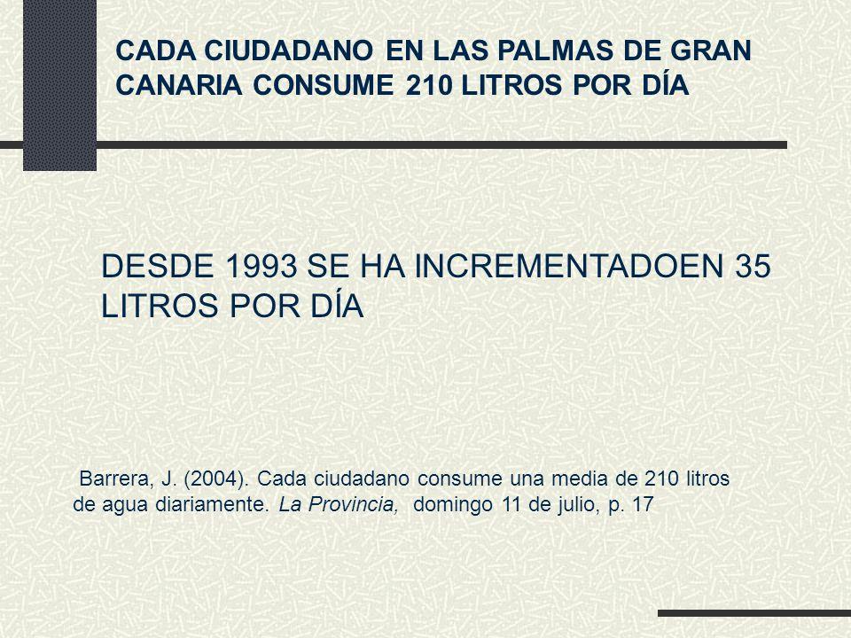 DESDE 1993 SE HA INCREMENTADOEN 35 LITROS POR DÍA