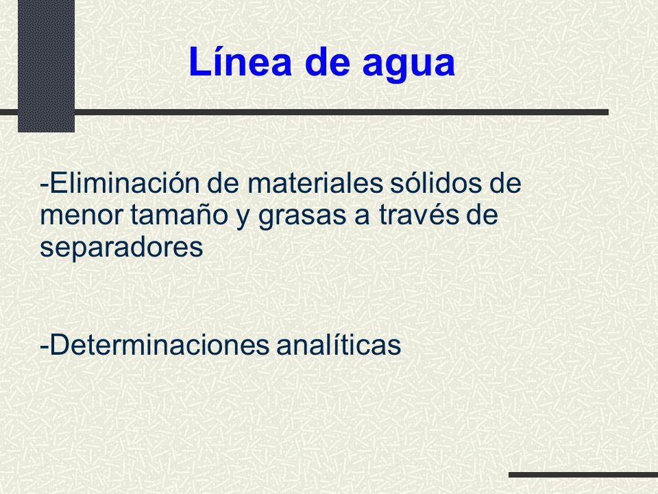 Línea de agua Eliminación de materiales sólidos de menor tamaño y grasas a través de separadores.