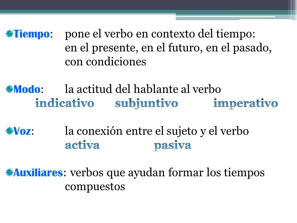 Tiempo: pone el verbo en contexto del tiempo: