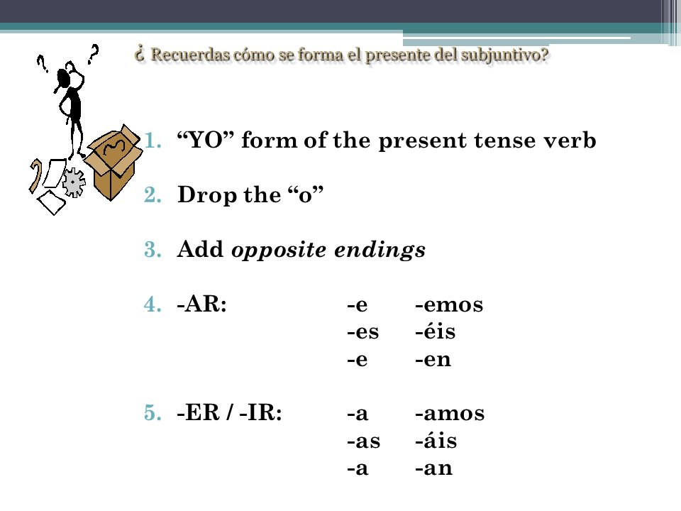 ¿ Recuerdas cómo se forma el presente del subjuntivo