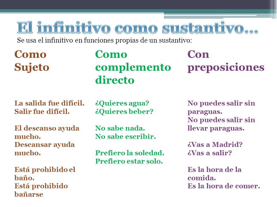 El infinitivo como sustantivo…