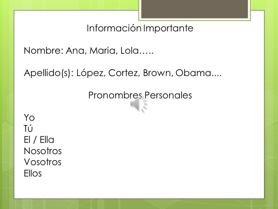 Información Importante Nombre: Ana, Maria, Lola…..