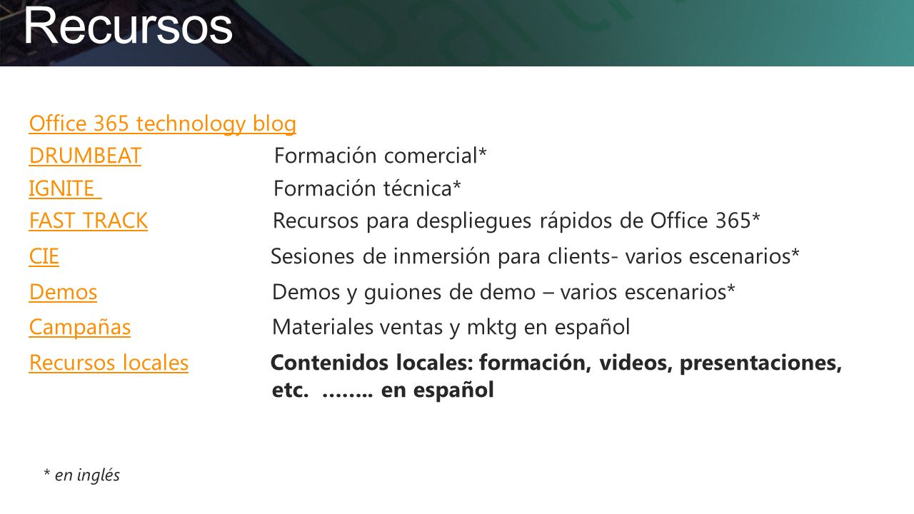 Recursos Office 365 technology blog DRUMBEAT Formación comercial*