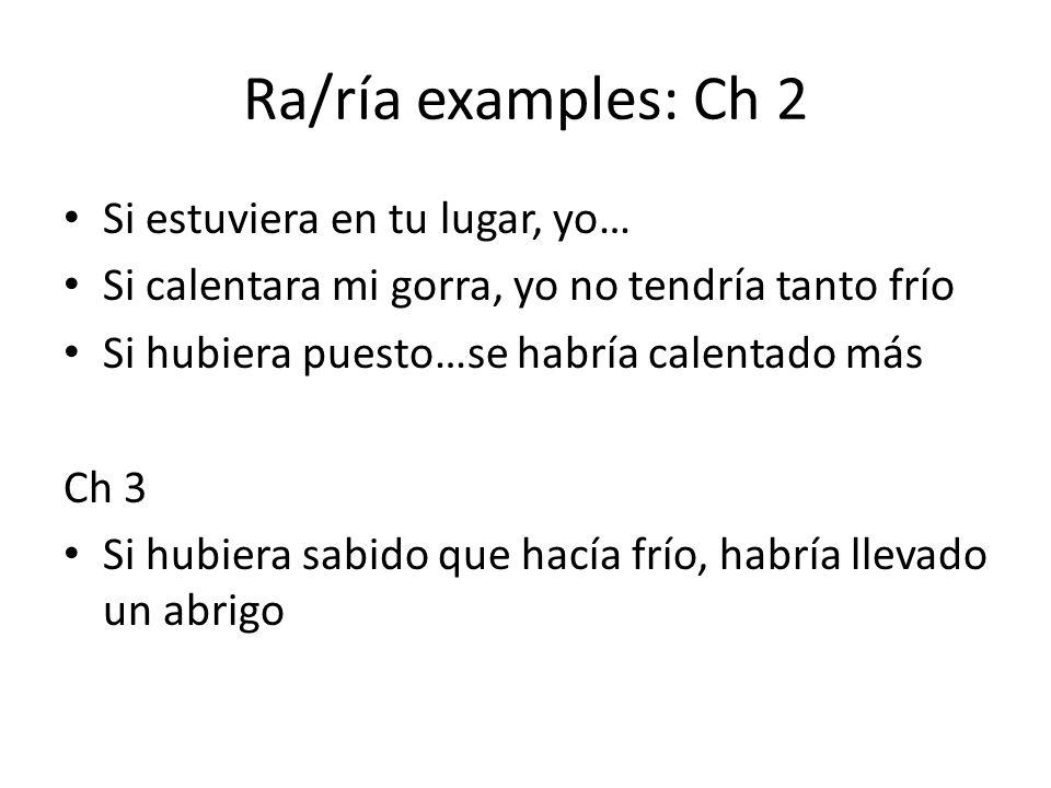 Ra/ría examples: Ch 2 Si estuviera en tu lugar, yo…