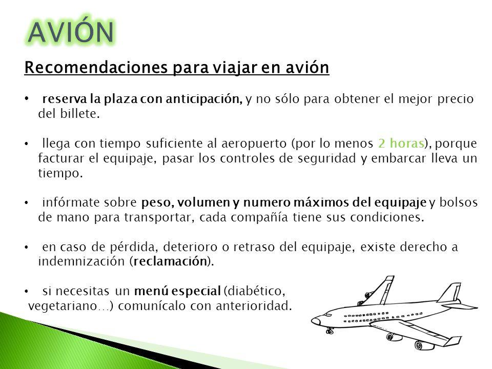 AVIÓN Recomendaciones para viajar en avión