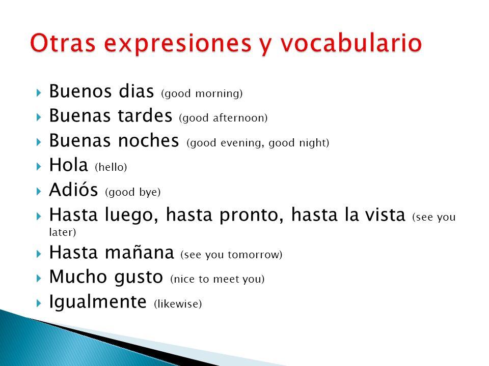Otras expresiones y vocabulario