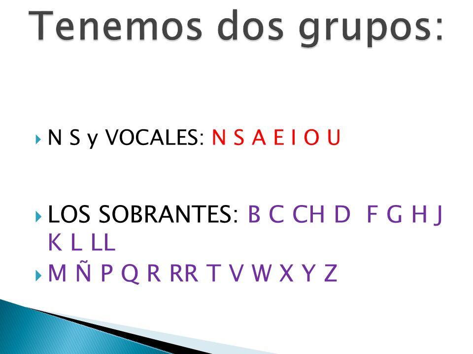 Tenemos dos grupos: LOS SOBRANTES: B C CH D F G H J K L LL