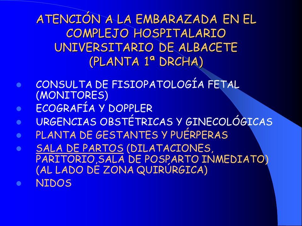 ATENCIÓN A LA EMBARAZADA EN EL COMPLEJO HOSPITALARIO UNIVERSITARIO DE ALBACETE (PLANTA 1ª DRCHA)