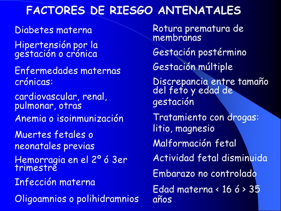 FACTORES DE RIESGO ANTENATALES