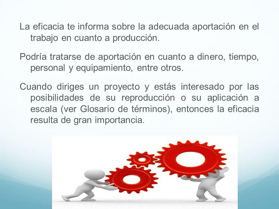 La eficacia te informa sobre la adecuada aportación en el trabajo en cuanto a producción.