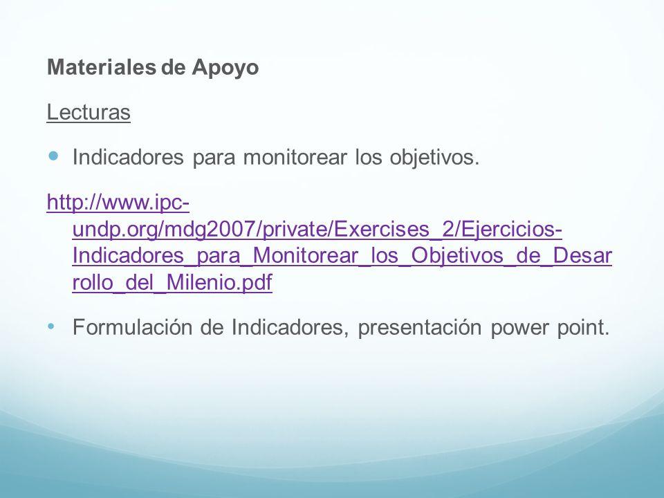Materiales de Apoyo Lecturas. Indicadores para monitorear los objetivos.