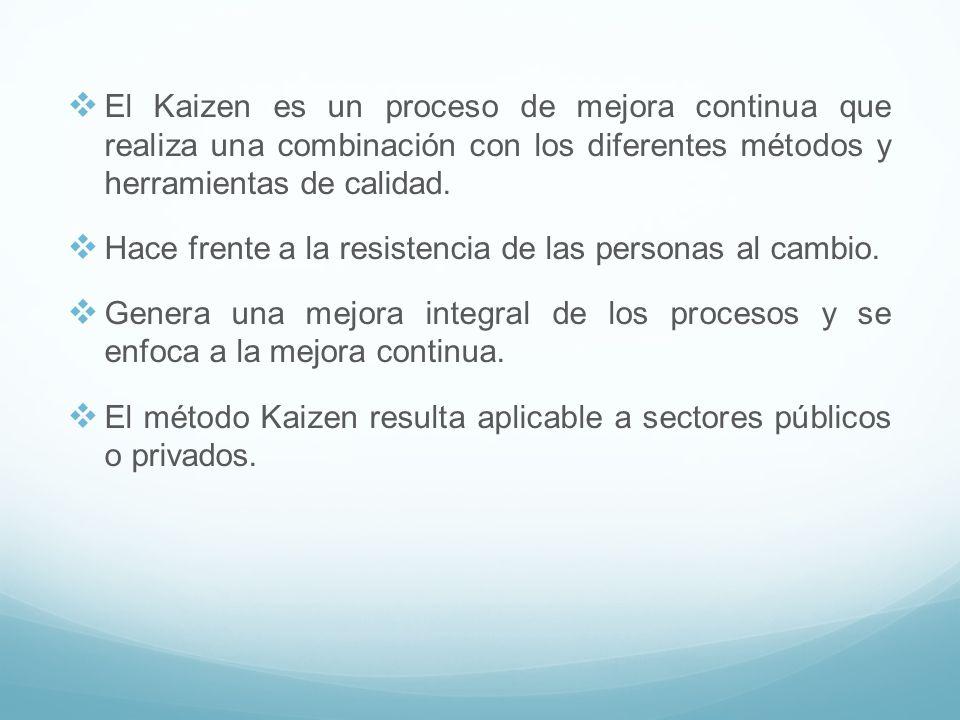 El Kaizen es un proceso de mejora continua que realiza una combinación con los diferentes métodos y herramientas de calidad.