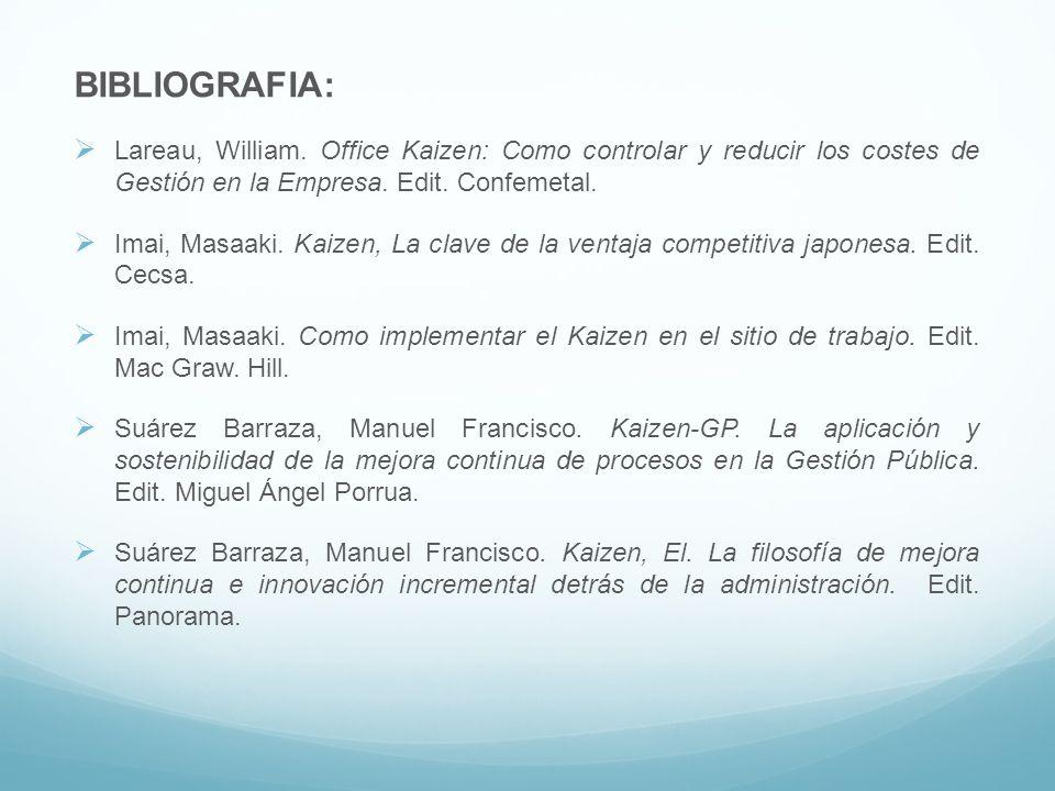 BIBLIOGRAFIA: Lareau, William. Office Kaizen: Como controlar y reducir los costes de Gestión en la Empresa. Edit. Confemetal.