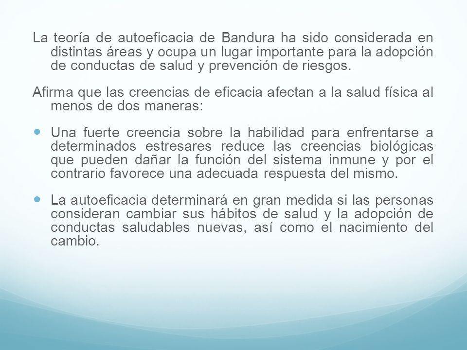 La teoría de autoeficacia de Bandura ha sido considerada en distintas áreas y ocupa un lugar importante para la adopción de conductas de salud y prevención de riesgos.
