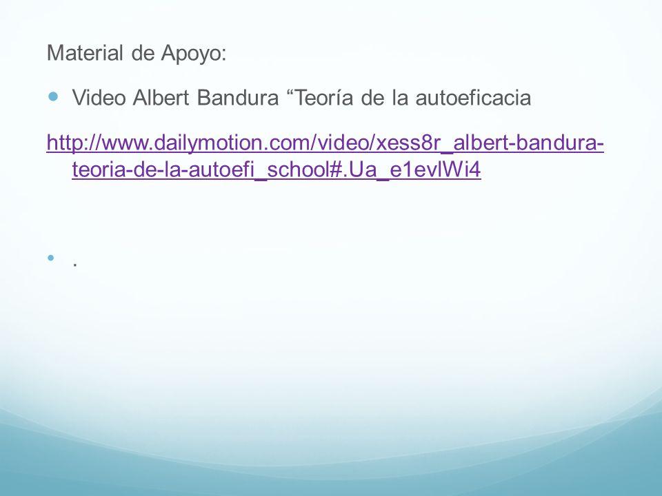 Material de Apoyo: Video Albert Bandura Teoría de la autoeficacia.