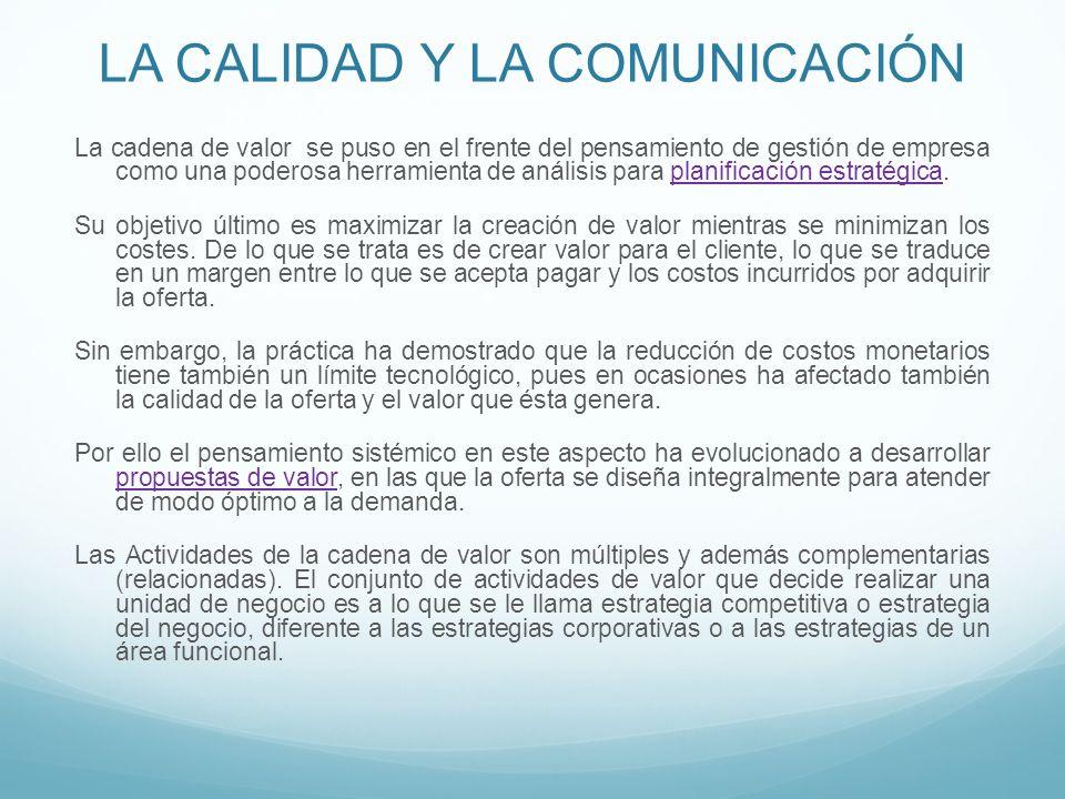 LA CALIDAD Y LA COMUNICACIÓN