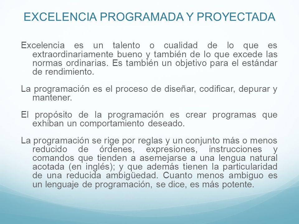 EXCELENCIA PROGRAMADA Y PROYECTADA