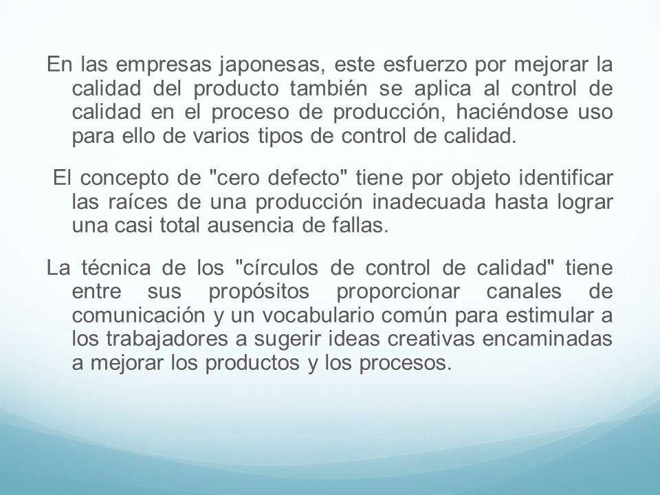 En las empresas japonesas, este esfuerzo por mejorar la calidad del producto también se aplica al control de calidad en el proceso de producción, haciéndose uso para ello de varios tipos de control de calidad.