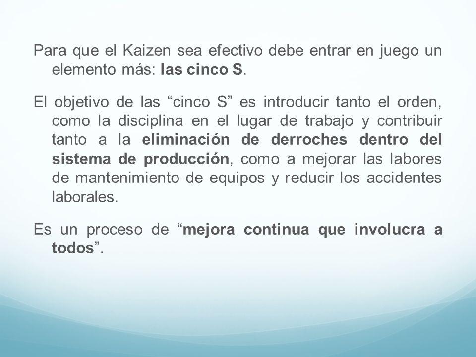 Para que el Kaizen sea efectivo debe entrar en juego un elemento más: las cinco S.