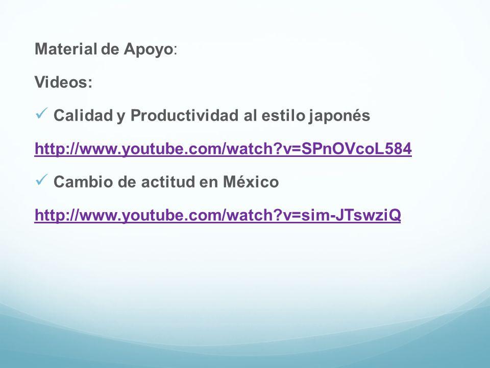 Material de Apoyo: Videos: Calidad y Productividad al estilo japonés. http://www.youtube.com/watch v=SPnOVcoL584.