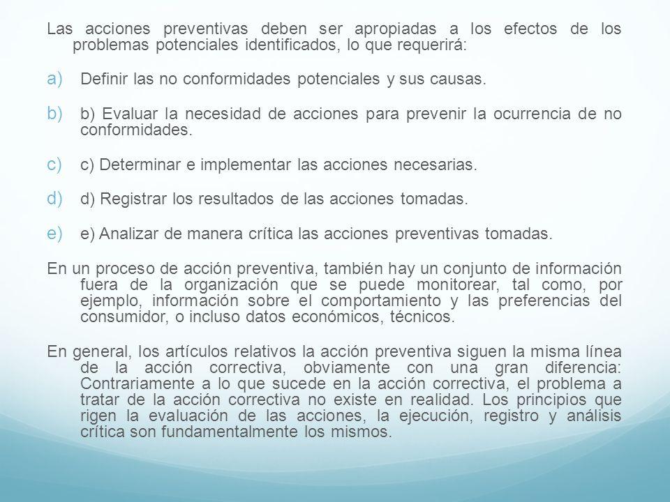 Las acciones preventivas deben ser apropiadas a los efectos de los problemas potenciales identificados, lo que requerirá:
