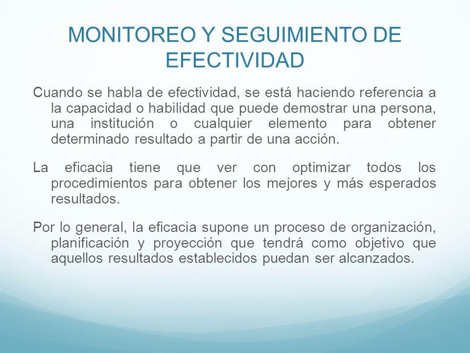 MONITOREO Y SEGUIMIENTO DE EFECTIVIDAD