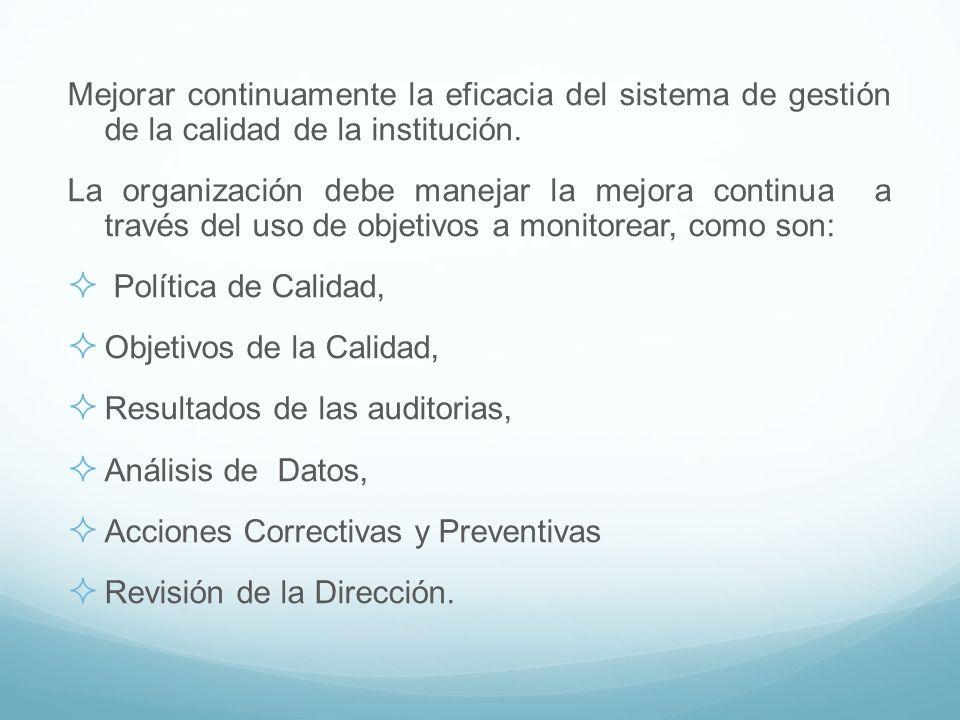 Mejorar continuamente la eficacia del sistema de gestión de la calidad de la institución.