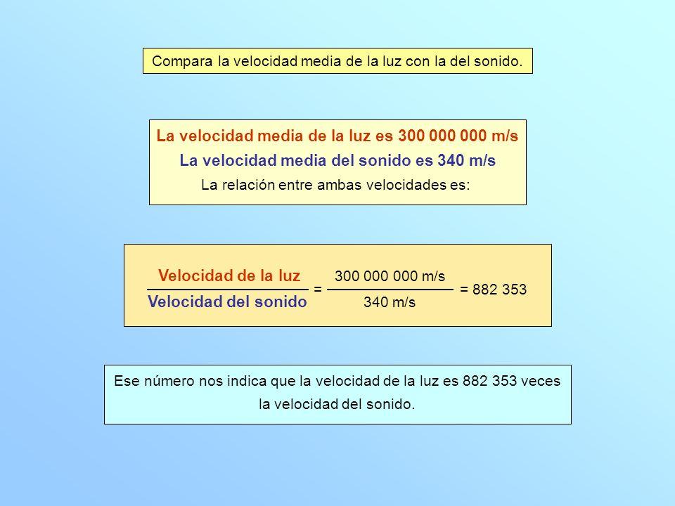 La velocidad media de la luz es 300 000 000 m/s