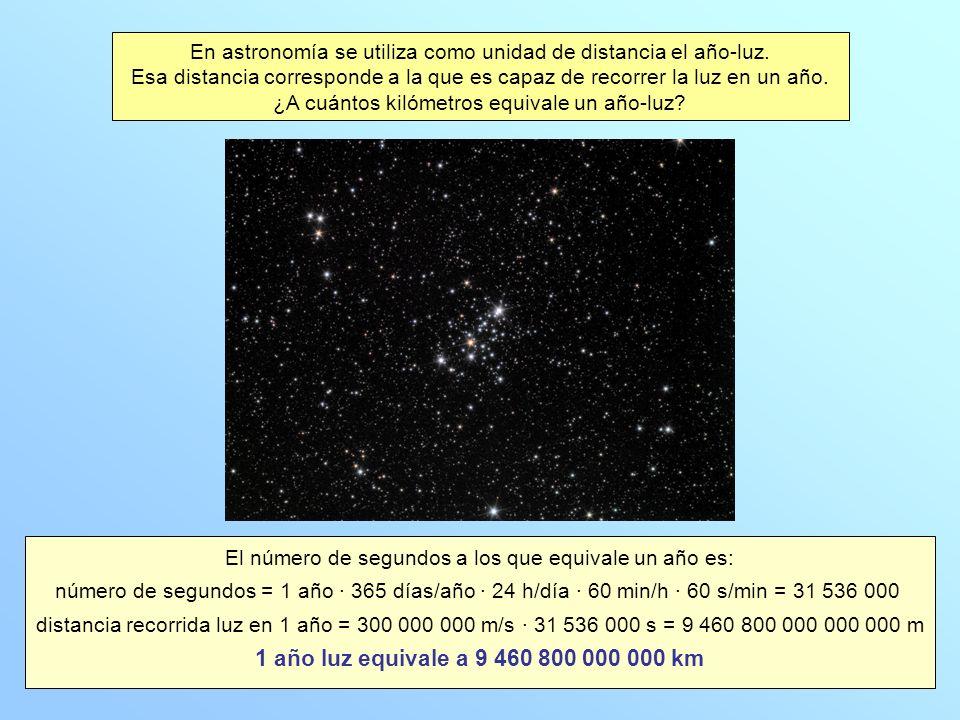 En astronomía se utiliza como unidad de distancia el año-luz.
