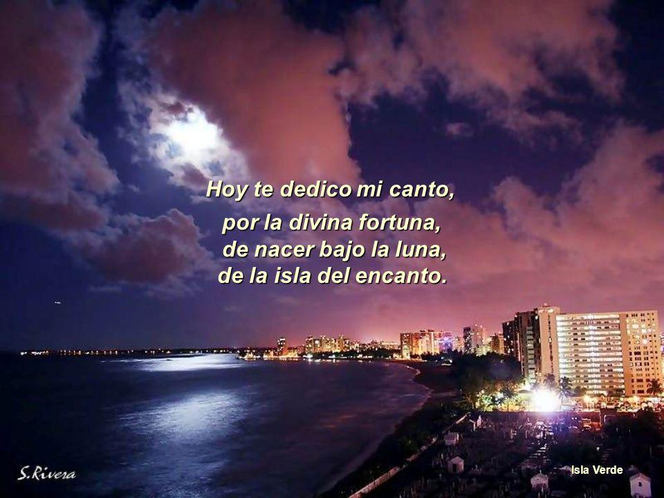 por la divina fortuna, de nacer bajo la luna, de la isla del encanto.