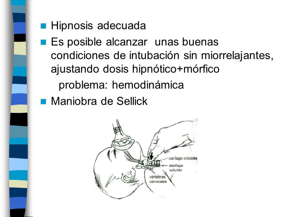 Hipnosis adecuada Es posible alcanzar unas buenas condiciones de intubación sin miorrelajantes, ajustando dosis hipnótico+mórfico.