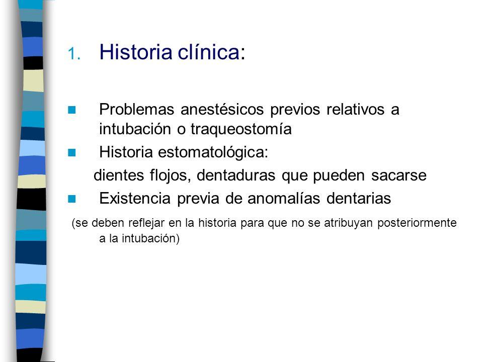 Historia clínica: Problemas anestésicos previos relativos a intubación o traqueostomía. Historia estomatológica: