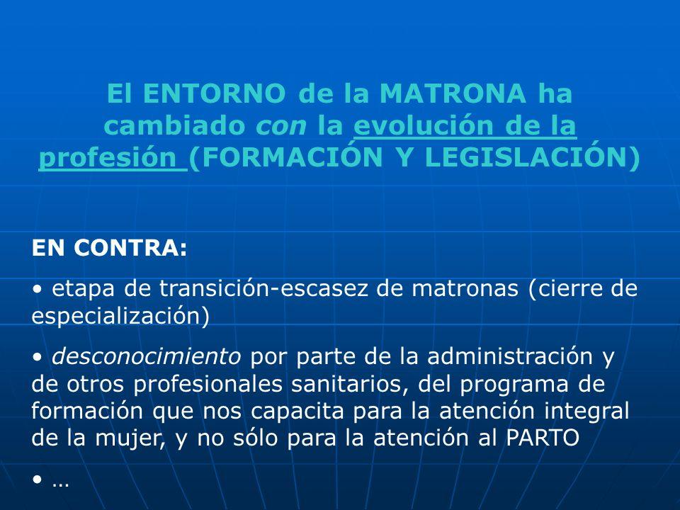 El ENTORNO de la MATRONA ha cambiado con la evolución de la profesión (FORMACIÓN Y LEGISLACIÓN)