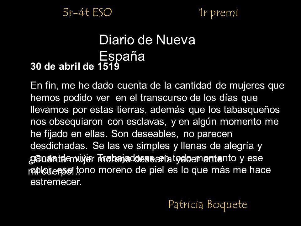 Diario de Nueva España 3r-4t ESO 1r premi Patricia Boquete