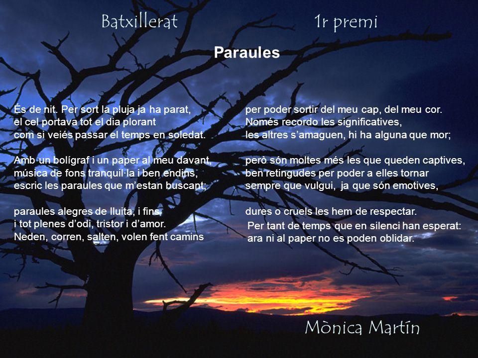 Batxillerat 1r premi Mònica Martín Paraules