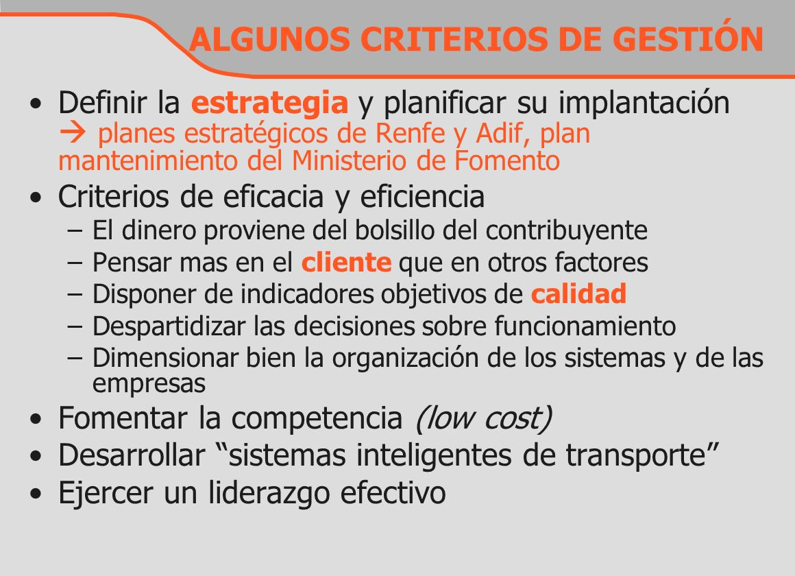 ALGUNOS CRITERIOS DE GESTIÓN