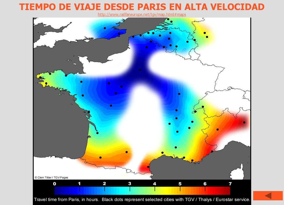 TIEMPO DE VIAJE DESDE PARIS EN ALTA VELOCIDAD http://www.railfaneurope.net/tgv/map.html#maps
