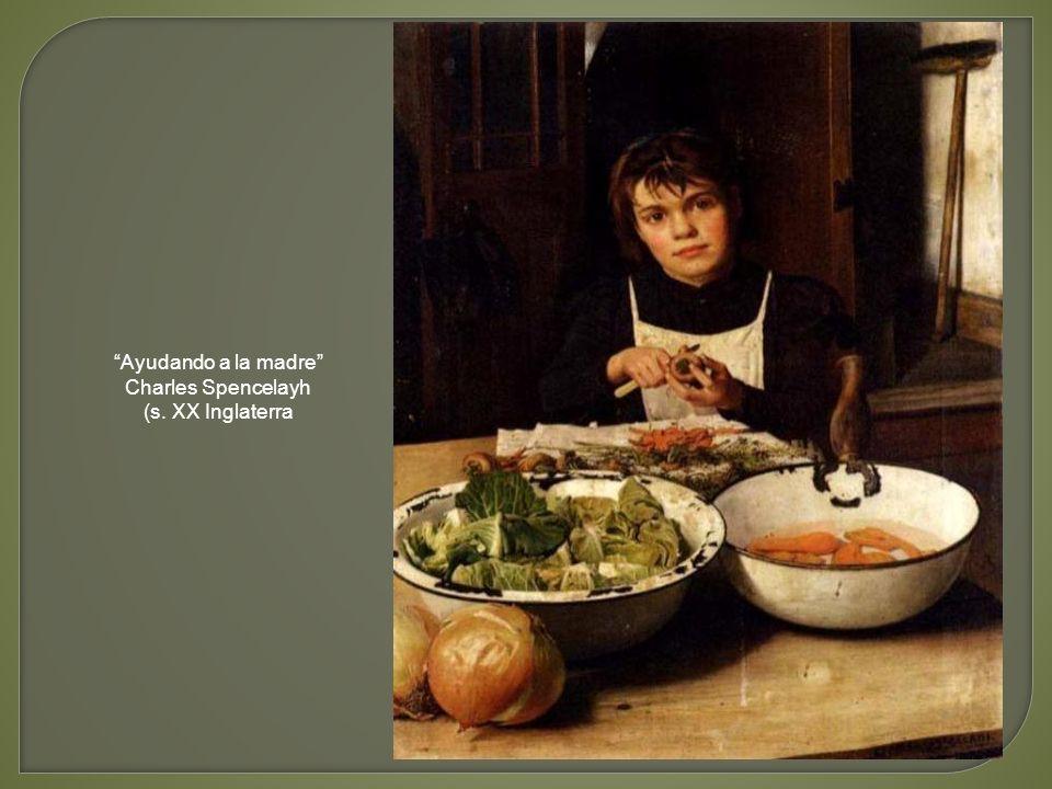 Ayudando a la madre Charles Spencelayh (s. XX Inglaterra