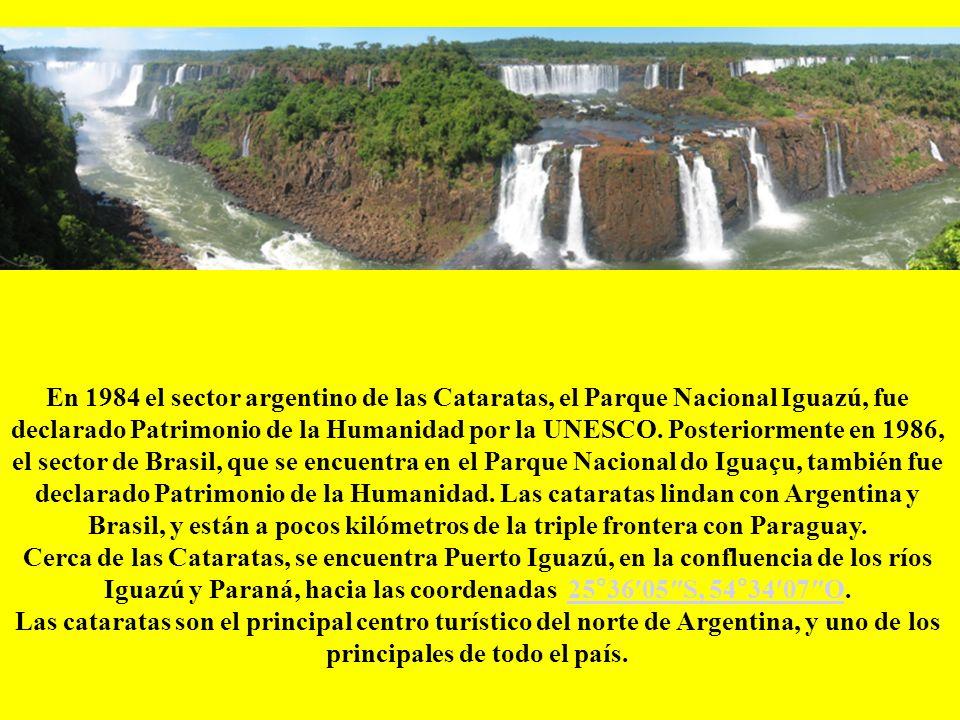 En 1984 el sector argentino de las Cataratas, el Parque Nacional Iguazú, fue declarado Patrimonio de la Humanidad por la UNESCO. Posteriormente en 1986, el sector de Brasil, que se encuentra en el Parque Nacional do Iguaçu, también fue declarado Patrimonio de la Humanidad. Las cataratas lindan con Argentina y Brasil, y están a pocos kilómetros de la triple frontera con Paraguay.