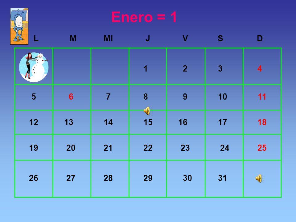 Enero = 1 L. M. MI. J. V. S. D. 1. 2. 3. 4. 5. 6. 7. 8. 9. 10. 11. 12. 13. 14. 15.