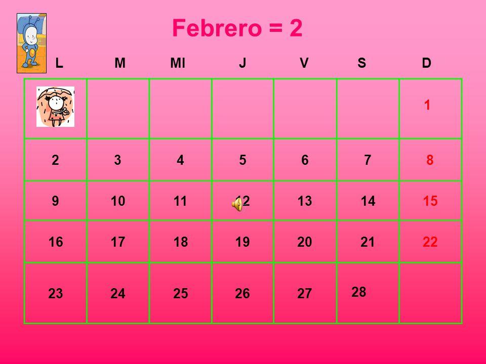 Febrero = 2 L. M. MI. J. V. S. D. 2. 3. 4. 5. 6. 7. 8. 9. 10. 11. 12. 13. 14. 15.