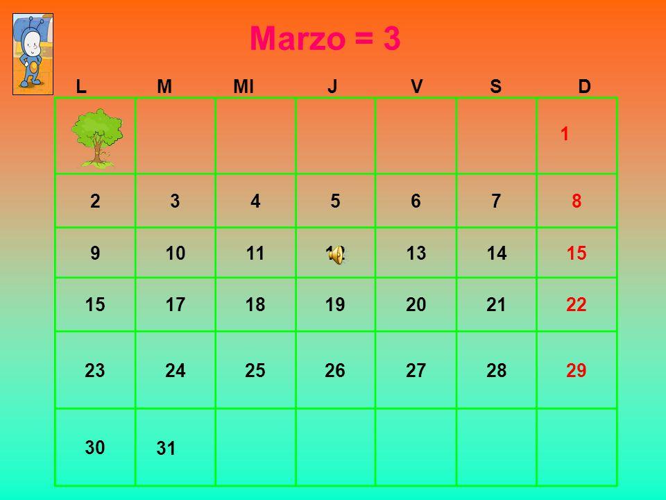 Marzo = 3 L. M. MI. J. V. S. D. 2. 3. 4. 5. 6. 7. 8. 9. 10. 11. 12. 13. 14. 15.
