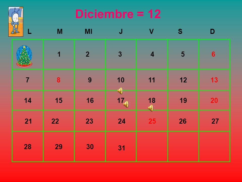 Diciembre = 12 L. M. MI. J. V. S. D. 7. 8. 9. 10. 11. 12. 13. 14. 15. 16. 17. 18.