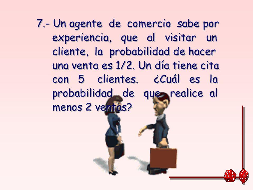 7.- Un agente de comercio sabe por