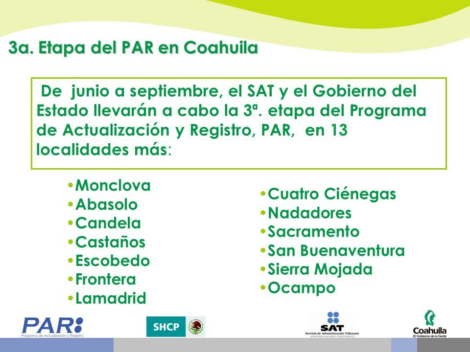 3a. Etapa del PAR en Coahuila
