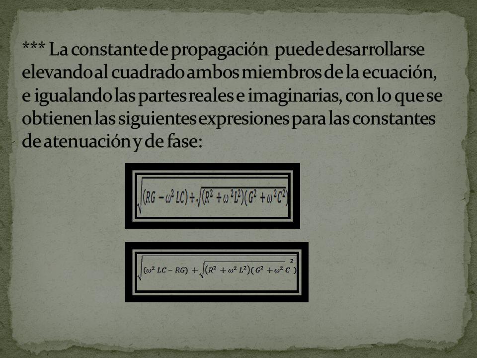 *** La constante de propagación puede desarrollarse elevando al cuadrado ambos miembros de la ecuación, e igualando las partes reales e imaginarias, con lo que se obtienen las siguientes expresiones para las constantes de atenuación y de fase: