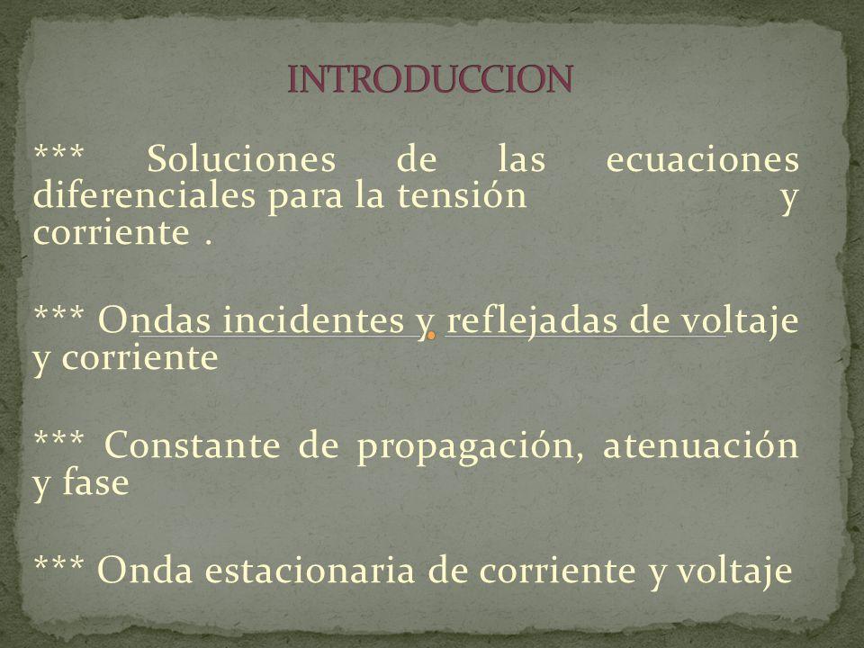 INTRODUCCION *** Soluciones de las ecuaciones diferenciales para la tensión y corriente .