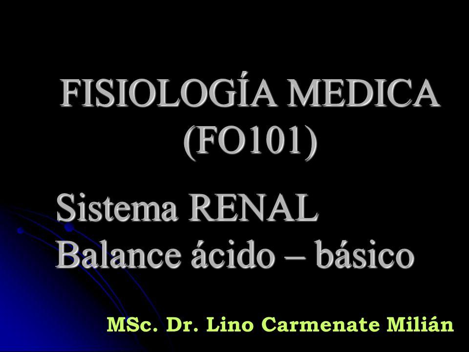 FISIOLOGÍA MEDICA (FO101) Sistema RENAL Balance ácido – básico