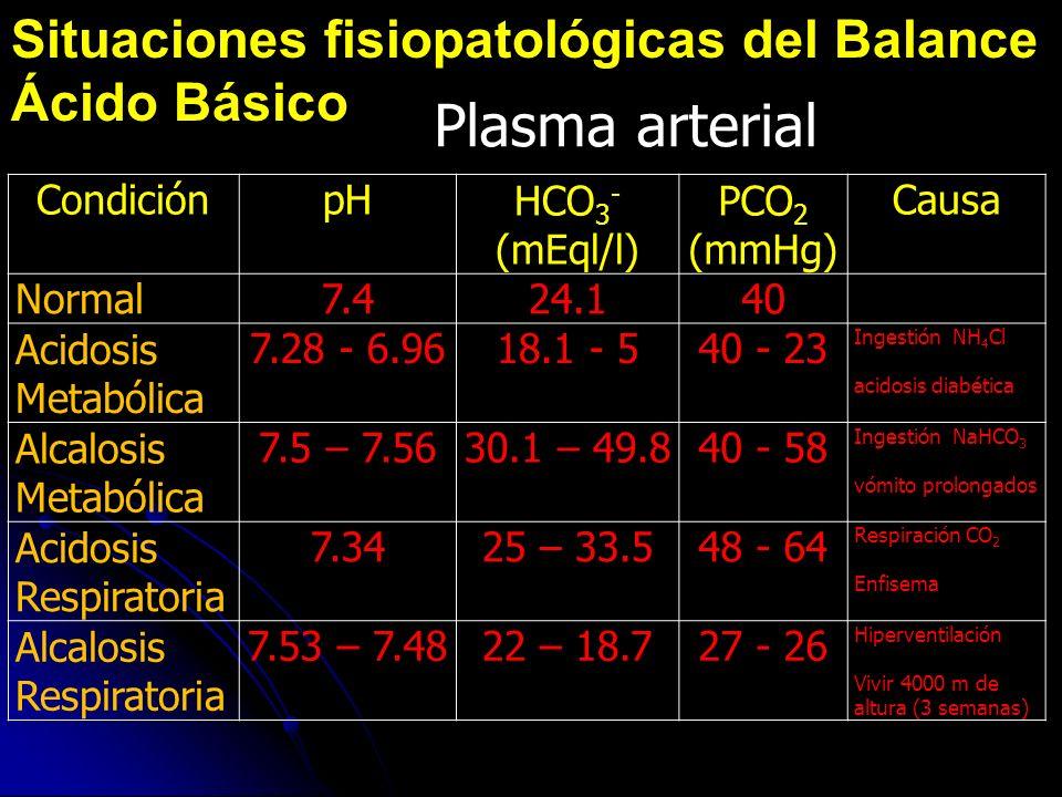 Plasma arterial Situaciones fisiopatológicas del Balance Ácido Básico