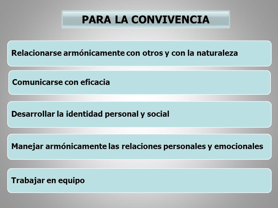 PARA LA CONVIVENCIA Relacionarse armónicamente con otros y con la naturaleza. Comunicarse con eficacia.